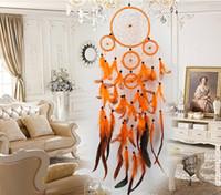 rüya avcısı ev dekorasyonu toptan satış-5 Yüzükler Dream Catchers Net Duvar Asılı Ev Bahçe Araba Yerli Dream Catcher Tüyler Asılı Dekorasyon Hediye Odası Dekor