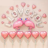 Wholesale i balloons - Wedding Party Decorations Ballon Kit Flamingo Theme I LOVE YOU Letter ballon Foil Balloons