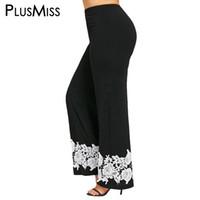 Wholesale Wide Crochet Elastic - PlusMiss Plus Size 5XL Floral Lace Crochet Palazzo Pants Capris Women Elastic High Waist Wide Leg Loose Trousers Boho Pant 2017