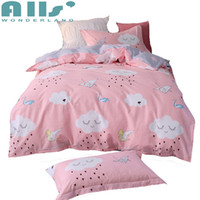 Wholesale cotton sheets for kids cartoons - Pink 100% Cotton Cloud Duvet Cover Set Twin Size 3pcs Bedding Sets For Kids Cartoon Duvet Cover bed Sheet Pillow Case Bedding