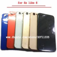 caixa traseira do iphone venda por atacado-Novo para o iphone 6s como 8 estilo 8 mais de volta tampa traseira da habitação da bateria porta chassi meio quadro