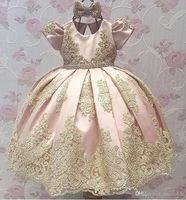 ingrosso abiti da sposa rosa caldi del bambino-Vendita calda più recente Blush Pink Cap manica corta in raso Fiore ragazza abiti Appliques Bambini Pageant Abiti A-line Bow Lace Baby Party Dress 2017