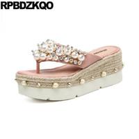 ingrosso ciabatte in cotone nero con strass-coreano flip flop strass nero perla scarpe sandali pantofole tacco alto rosa cunei scivoli di paglia piattaforma donne tempestato di cristallo