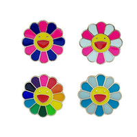 Wholesale Top New Styles Rainbow Sunflower Metal Brooch Anime Smile Face Lapel Pins Badges Best Gifts Cartoon Brooches