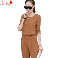 Wholesale Women Stylish Blazers - 2017 Autumn Brief Women's Clothings 2PC Set Suits Ladies Office Stylish Costumes for Women Pants + Blouse Shirt Female Trousers