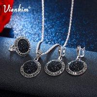 ingrosso le pietre nere squillano le donne-Vienkim Vintage Black Broken Stone Set di gioielli da sposa Collana di cristallo Orecchini Anello Per le donne di moda Gioielli unici della Boemia