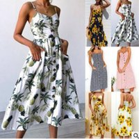 Wholesale Sling Harness - 2018 spring summer sling women dress new printing harness Hot long dress Pineapple sunflower floral skirt Ladies holiday casual clothing