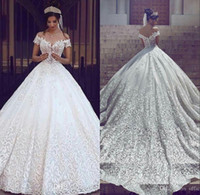 Wholesale lace detail wedding dresses for sale - 2018 New Vintage Lace Wedding Dresses Sexy Off the Shoulder Short Sleeves Applique Sweep Train A Line Wedding Bridal Gowns Custom Made
