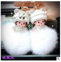 ingrosso monchichi cartone animato-KIKI Monchichi vero coniglio coniglietto pom pom portachiavi Crystal cartoon Bambole pompom Catena chiave Donna borsa pendente fascino auto
