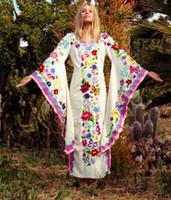 vestidos de novia de talla grande vintage al por mayor-Vintage Kaftan Maxi vestidos largos de alta calidad vestido de boda de manga de la llamarada de algodón bordado de noche cóctel Caftan vestido más tamaño