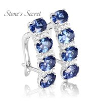 tansanit-ohrringe groihandel-Stone's Secret Elegant Created Tanzanite 925 Silver Earrings Hot Sell Drop-shipping Fine Jewelry Y1892905