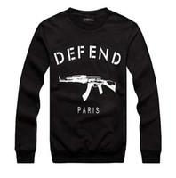 paris hoodie savun toptan satış-Toptan-DEFEND PARIS AK47 Kadınlar / Erkekler GIV Otomatik tüfek baskı kazak Uzun Kollu Hiphop 3D Tişörtü Hoodies terlemeleri Tops