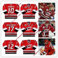 Wholesale ron francis jersey - Men's 10 RON FRANCIS Carolina Hurricanes 17 ROD BRIND'AMOUR 12 ERIC STAAL 2002 CCM Throwback Away ice Hockey stitched Jersey