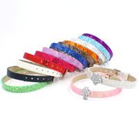 armband bling buchstaben großhandel-Bling Bling 100pcs 8mm Pailletten PU Leder Armband Armband kann 8mm Buchstaben Charms auf Schmuck machen