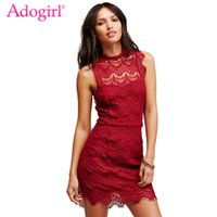 Wholesale Black Eyelash Lace - Adogirl Women Sexy Lace Dress Eyelash Lacy Sleeveless Open Back Mini Party Dresses Women Casual Vestidos Bodycon Club Wear