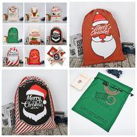 Wholesale heavy cotton canvas fabric - 24 colors Christmas Gift Bags Large Organic Heavy Canvas Bag Santa Sack Drawstring Bag Reindeers Santa Claus Sack Bags for kids MMA344 50pcs