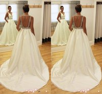 Wholesale Sexy Hochzeitskleid - 2018 Cheap Charming V-neck Arabic A-line Wedding Dresses Backless Satin Beaded Bridal Wedding Gowns Hochzeitskleid Robe De Mariee Plus Size
