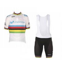 kits de ciclismo al por mayor-Campeón del mundo de uci 2018 Alejandro Valverde kits de camisetas de ciclismo de arco iris en bicicleta de manga corta Racing ropa ciclismo GEL pad babero shorts