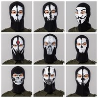 Wholesale face hoods - Full Face Mask Cap Breathable Hat ostume Cosplay Mask Hat Mens Panel Tactical mask Caps Hood Balaclava Hat Headwear KKA4547