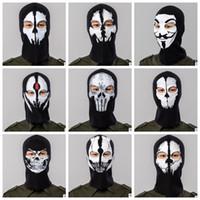 ingrosso maschera viso traspirante-Maschera a pieno faccia Cap cappello traspirante ostume Cosplay Maschera Cappello Mens Panel Maschera tattica Cappellini Cappellino Balaclava Copricapo KKA4547