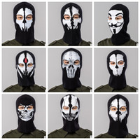 balaclava hood toptan satış-Tam Yüz Maskesi Kap Nefes Şapka ostume Cosplay Maske Şapka Erkek Paneli Taktik maske Hood Balaclava Şapka Şapkalar KKA4547 Caps