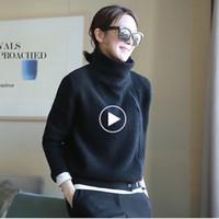 neue frauen kaschmir mantel großhandel-2018 Herbst und Winter neue High Necked Cashmere Pullover Damen Strickjacke kurze lose Reißverschluss langärmelige Pullover Mantel.