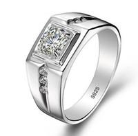 venda de jóias anéis de noivado venda por atacado-Real 925 Anéis De Prata Esterlina para o Homem Venda Quente Anel de Casamento Dos Homens de Jóias 0.75 Ct CZ Diamant Anel de Noivado