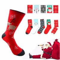 Wholesale santa animals online - 9 Styles Fashionable Cotton Winter Christmas Socks Unisex Adults woman Sock Santa Claus Snowflake Sockings AAA898
