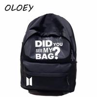 mochilas militares al por mayor-BTS Mochila Corea Bangtan Boys Star Bag ¿Has visto mi bolsa Imprimir Ejército Mochilas de viaje? Laptop para estudiantes Libro de escuela Bolsa #