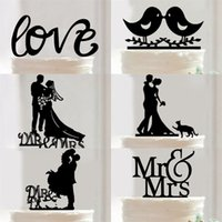 Wholesale wedding couple cake - Multistyles Acrylic Cake Insert Card For Birthday Wedding Decorations Supplies LOVE Couple Birds Bride And Groom Type Cakes Topper 4hz XY