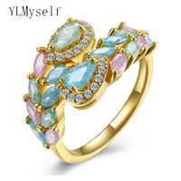 Wholesale Gold Jewellery Designs - whole saleAliexpress recommend multi colorful rings Panicle design aneis Gold color multi zirconia jewelry Luxury jewellery women ring