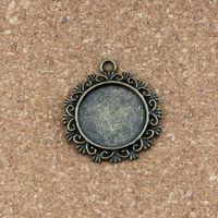 Wholesale photo frames antique for sale - Group buy Round Photo Frame Charm Pendants x34mm Alloy jewelry DIY Fit Bracelets Necklace Earrings Antique silver bronze A