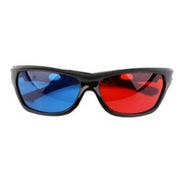 Wholesale plastic anaglyph 3d glasses online - 2016 Black Frame Universal D Plastic glasses Oculos Red Blue Cyan D glass Anaglyph Movie Game DVD vision cinema