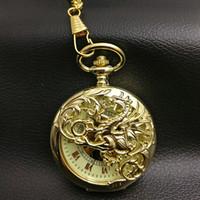 relógio de bolso novo esqueleto venda por atacado-Ouro Dragão Mecânico Pocket Watch Homens Skeleton Steampunk Fob Relógios Romano Homem Pai Presente New Retro Vintage Mão Vento