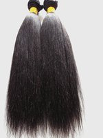 Wholesale yaki perm human hair for sale - Brazilian Human Virgin Hair Light Yaki Hair Weft Straight Human Hair Extensions Unprocessed Natural Black Color