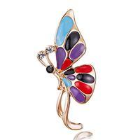 malerei elegant großhandel-Painted Butterfly Pins Brosche Mode Elegant Legierung Zubehör Fabrik Großhandel Direkt Großhandel