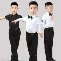 traje latino venda por atacado-Novo preto latino dança traje menino mens latin dance pants camisa latino meninos latin dancewear crianças kids mens