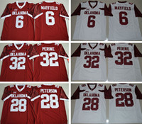 Wholesale Nwt Shorts - NWT Men Cheap Wholesale Oklahoma Sooners #28 Adrian Peterson #44 Brian Bosworth #6 Baker Mayfield 32 Samaje Perine Stitched College Jerseys