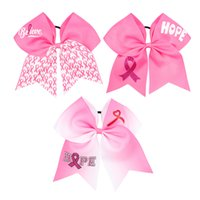 Wholesale cheerleader hair online - Newset Breast Cancer Awareness Cheer Bow With Elastic Band For Cheerleader baby headbands Girl Hair Accessories