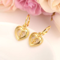 Wholesale American Meaning - 18K Fine Solid Gold Filled Heart cross meaning Earrings Women Girl,Love Trendy Jewelry for African Arab Middle Eastern kids gift sincere