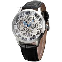 winner watch classic 2018 - New Fashion Winner Retro Transparent Clock Men Watches Ultra Thin Classic Design Male Gift Mechanical Hand Wind Wristwatch