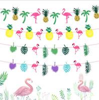 hawaiian partisi için süslemeler toptan satış-Parti Dekorasyon Flamingolar Ananas Hindistan Cevizi yaprağı Garland Bebek Duş Hawaiian Luau Parti Malzemeleri Dize Bayrakları Bunting Banner Dekor KKA6077