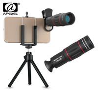 teleskop mobil für iphone großhandel-APEXEL 18X Optischer Zoom Tele Teleskop Objektiv Kamera mit Handyhalter Clip Stativ Zoom teleskop Handy Objektiv für iPhone Smartphone