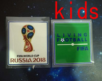 Wholesale cup materials online - Top quality kids Patch world cup Patch Soccer Patches boys Soccer Badges Cashmere material velvet