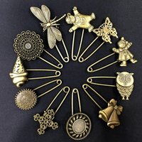 e81eb6aaf Creative Bronze Vintage Hijab Pins Brooch Pins Safety Pins Retro Exquisite  Brooch DIY Material Alloy Jewelry Accessories Free DHL G998F