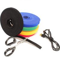 ruban adhésif achat en gros de-Crochet et bande de bande rouleau 1 CM * 5 M auto-adhésif bandes de fixation de fixation arrière Organisateur de câble sangles de cordon de fixation réutilisable