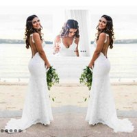 Wholesale Bride Dresses Open Back Mermaid - Sexy Spaghetti Mermaid Lace Garden Beach Wedding Dress Backless Open Back 2018 Fitted Country Bridal Gown Bride Dress New Arrival Custom