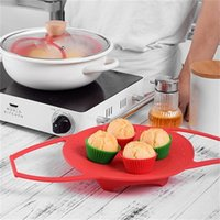 Wholesale silicone steamers resale online - Silicone Steam Plate Extensible Food Grade Fruit Fold Steamer Basket Small Red Anti Scald Heat Insulation Frame Environmental tx V