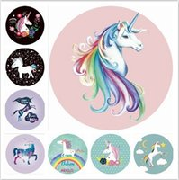 Wholesale polka dot robes online - Unicorns Beach Towel cm Round Beach Towels Summer Swimming Bath Towels cartoon Shawl Yoga Mat colors baby Blanket