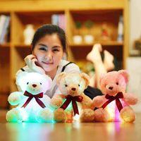 Wholesale Pink Stuffed Teddy Bears - 25cm Creative Light Up LED Teddy Bear Stuffed Animals Plush Toy Colorful Glowing Teddy Bear Christmas Gift for Kids OTH740